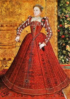 c 1563 Queen Elizabeth I 1533-1603 The Hampden Portrait by Steven Van Der Meulen. This is reportedly the earliest portrait of the queen, after her coronation, with her bosom uncovered as was appropriate for unmarried women at that time.