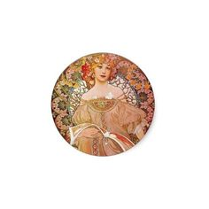 Alphonse Mucha Daydream Reverie Art Nouveau Lady Sticker ($5.25) ❤ liked on Polyvore featuring accessories