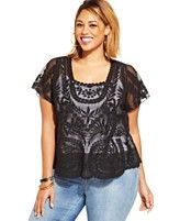 Jessica Simpson Plus Size Kinley Flutter-Sleeve Lace Top