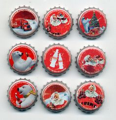 Christmas 2011 Coca Cola Colombia Full Set x 9 Bottle Caps