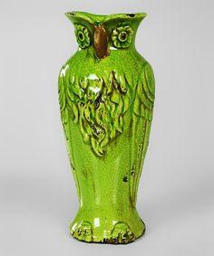 Green Owl Vase by Galt International