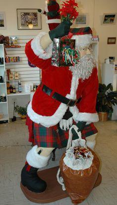 Santa in a kilt at Kiltmaker's Apprentice!