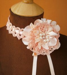 Wedding Peach Pink Brooch and Crochet Choker / Hadband