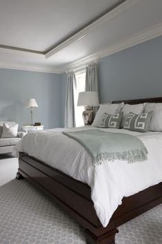 Popular Bedroom Paint Colors that Give You Positive Vibes Luxe Magazine Summer 2014 Sally Steponkus Interiors Master Bedroom Benjamin Moore Windy Sky Blue Master Bedroom, Master Bedroom Makeover, Master Bedroom Design, Home Decor Bedroom, Diy Bedroom, Dark Furniture Bedroom, Bedroom Designs, Paint Ideas For Bedroom, Blue Bedroom Paint