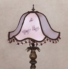 Victorian Lamp Shade Vintage Lamp Art Nouveau Lamp Boudoir Lamp Pink Lavender Lampshade Butterfly Lampshade Embroidered Lamp Shade Art Deco This romantic Victorian style lampshade made with exclusively embroidered dupioni silk. A wire shade frame is covered in vintage soft plum and