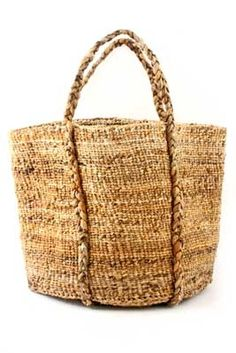 Woven from long strips of fiber extracted from banana palm leaves by women in Kenya