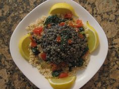 Mediterranean Lentils Over Couscous from pg 132 in my newest book S.A.S.S! Yourself Slim (vegan).