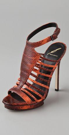 B Brian Atwood Calistta High Heel Sandals in Orange   Lyst