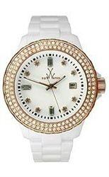 Toy Watch Plasteramic White & Rose Gold Crystal Unisex watch #ToyWatch #WhiteandRoseGoldWatch