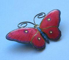 Stunning Silver and Enamel Butterfly Brooch Marius Hammer Perfect Enamel | eBay