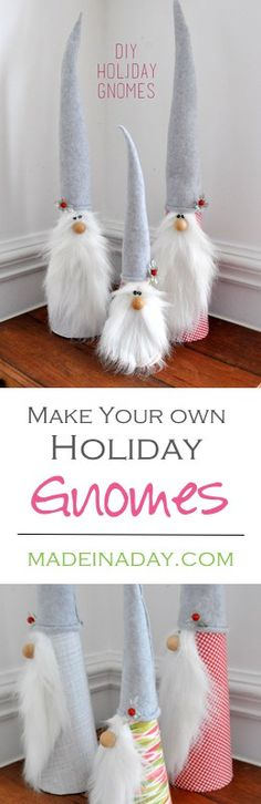 Learn to make these sweet Holiday Gnomes out of fleece and foam cones! Super easy craft for the holiday season.  via @madeinaday