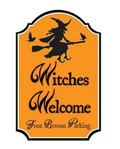 17 Inch Witches Welcome Parking Sign - Decorations - Spirithalloween.com