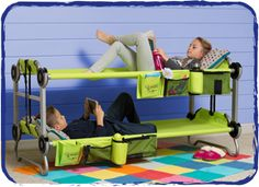 KidBunk. Portable for camping. Also can be used as 2 individual cots or converts to a bench, which is pretty cool :)