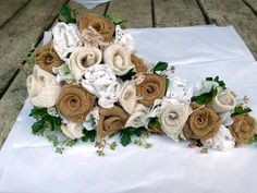 Cascade Wedding Bouquet BurlapVintage Lace by AfternoonDelite, $165.00