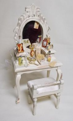 Dolls house Miniature Filled Ladies Dressing Table finished in antique cream | eBay