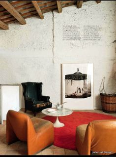 Rustic Style living room featured in World Of Interiors interior design magazine