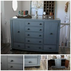 """Beautiful Soft Gray XL Buffet, Entertainment Center, or Dresser. Solid Wood, Drawers are on sliders, Chunky Wood Feet. Painted with Milk Paint and sealed with a Premium Poly. It looks smaller in the pictures but this is 5ft and 2"""" Long x 44"""" Tall and 19"""" Deep. Use as a Flat Screen Entertainment Center, or Buffet in Dinning Room, or use as Dresser."""