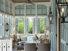 Historical Concepts - Architect - Peachtree City - Coastal - Outdoor - Living - Room - Entertaining - Lamps - Cozy - Beach - Blue - White - Calm - Wicker