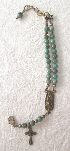 Rosary Bracelet, Adjustable, African Jade Gemstones, Bronze Metal, Our Lady of Guadalupe