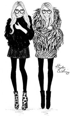 Fashion illustration of Mary-Kate & Ashley Olsen // Hayden Williams Hayden Williams, Olsen Sister, Olsen Twins, Ashley Olsen, Kate Olsen, Fashion Art, Fashion Models, Olsen Fashion, Female Fashion