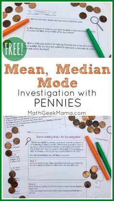 Understanding Data: FREE Mean Median & Mode math Lesson #datacollection #mean #median #mode #mathlesson #homeschool Graphing Activities, Printable Math Worksheets, Educational Activities For Kids, Class Activities, Free Printables, Easy Math Games, Fun Math, Math Lesson Plans, Math Lessons