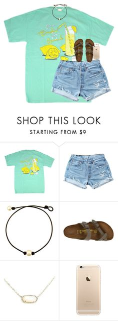 """""""i got an insta last week follow me"""" by classynsouthern ❤ liked on Polyvore featuring Levi's, Birkenstock, Kendra Scott and Honora"""