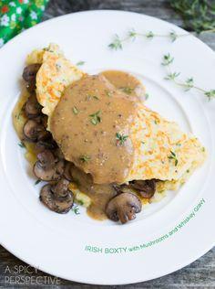 Boxty: Irish Potato Pancakes with Sauteed Mushrooms and Whiskey Gravy