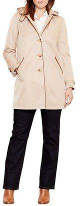 Shop Now - >  https://api.shopstyle.com/action/apiVisitRetailer?id=540885266&pid=uid6996-25233114-59 Plus Size Women's Lauren Ralph Lauren Faux Leather Trim Raincoat  ...