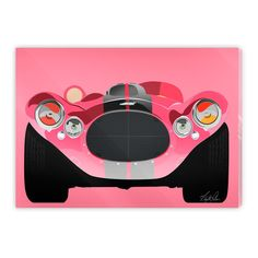 Ink print on plexiglass mounted on dupond. Edition of New Series, Vintage Cars, Color Pop, Classic Cars, Minimal, Colours, Gallery, Artwork, Pink