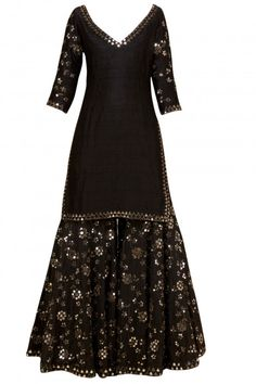 Black embellished sharara set - Abhinav Mishra - Designers
