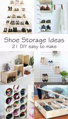The DIY ideas you need to organize your shoes. Find inspiration within these 21 easy to make DIY shoe storage. #storage #organize #shoe #small #space #diy  #entryway #closet #hallway #bedroom #entrance #mudroom #entry #creative #kids #underbed #wardrobe #wall #cheap #large #hidden #cabinet