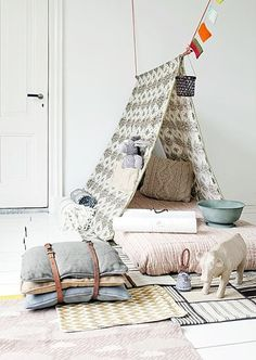 Looking for a little escape? Try creating a DIY tent, fort, or teepee in your home or in your backyard if it's still warm enough, and you'll be transported to a totally magical place in minutes. Whether you're making this for yourself or for little ones, it's a fun weekend project to add a bit of whimsy to your life. We also happen to be working on our own DIY teepee plans for Brit HQ - stay tuned to see what we create in the coming weeks :)