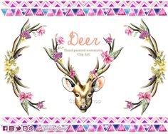 Flower Clip Art Hand Drawn Flowers and Stag Horns Deer horns clip art deer floral horns watercolor png hand made - Romantique Horns