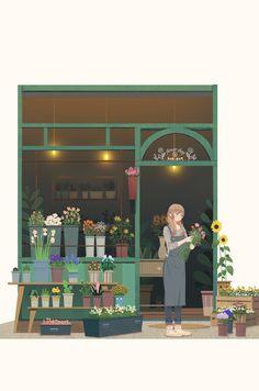 Building Illustration, Plant Illustration, Cute Illustration, Watercolor Illustration, Digital Illustration, Cute Cartoon Wallpapers, Animes Wallpapers, Girl Cartoon, Cartoon Art