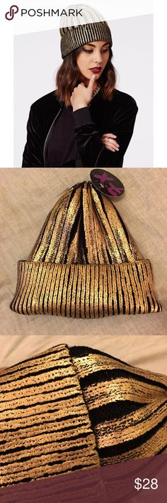 NWT Piper Metallic Black & Gold Foil Cap / Beanie ** Love the item but not the price? MAKE AN OFFER! 😊 ** NWT Piper Metallic Black & Gold Foil Cap / Beanie. Black with Gold foil stripes. Never been worn. Final sale. Accessories Hats