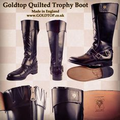 The New Goldtop Quilted Trophy Boots  Handcrafted by British craftsmen in England #goldtop #goldtopengland #goldtoptrophy #motorcycleboots #motorcycle #caferace #caferacer #madeinengland #british #classicmotorcycle #caferacersofinstagram #boots #biker #policeboots #cavalryboots  #acecafe #thebikeshed #silvermans #1960s