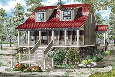 Bungalow, Vacation Homes, Country House Plans - Home Design Brushy Creek II # 19830 Log Cabin House Plans, Coastal House Plans, Rustic House Plans, Southern House Plans, Country Style House Plans, Coastal Homes, Coastal Decor, Modern Coastal, Coastal Style