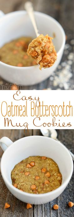 Easy Oatmeal Butterscotch Mug Cookies (aka Oatmeal Scotchies) are perfect for summer! Made in the microwave, this recipe yields 6 perfect cookies made in a mug or ramekin! An easy and delicious desser (Cool Desserts For Kids)
