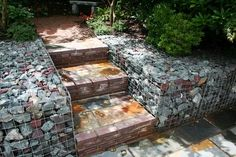 Gabion baskets with stairs