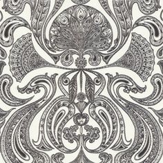 Cole & Son Malabar wallpaper, classic paisley in funky colours too. Paisley Wallpaper, Beige Wallpaper, Black And White Wallpaper, Photo Wallpaper, Beautiful Wallpaper, Cole And Son Wallpaper, Textile Patterns, Textiles