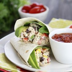 Santa Fe Chicken Salad Wraps - no corn, sub greek yogurt for sour cream and lettuce or gluten free wraps AFTER the 1st 30 days