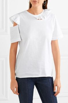Maggie Marilyn - Endless Possibilities Cutout Ruffled Cotton-jersey T-shirt - White
