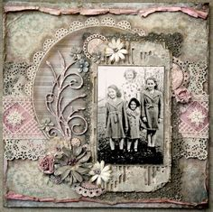 Beautiful scrapbook page to highlight an old family photo, especially like the lace accents!