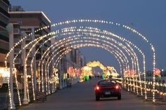 "Virginia Beach, Virginia lights up the Boardwalk for ""100 Miles of Lights"" - the ONLY time you can drive on the Boardwalk."