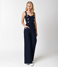 You look like youre an angel on a mission, darling! Straight from Voodoo Vixen comes the Maggie-May Jumpsuit, a marvelous nautical piece crafted in a beautiful textured woven stretch blend thats perfect for dancing in the sea breeze. The darted sweethea