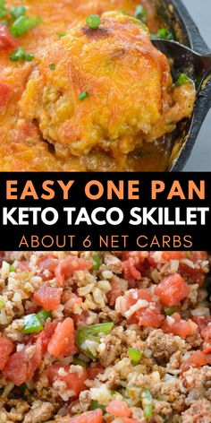 This Easy Keto Taco Skillet is packed with taco meat, cauliflower rice, vegetables and cheese. This is perfect for keto lunch meal prep or a quick and easy dinner around 6 net carbs per serving!  #keto #lowcarb #taco #onepan Slow Cooker Recipes, Beef Recipes, Mexican Food Recipes, Cooking Recipes, Healthy Recipes, Mexican Dishes, Lunch Recipes, Easy Dinner Recipes, Breakfast Recipes