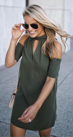 Green Open Shoulder Dress