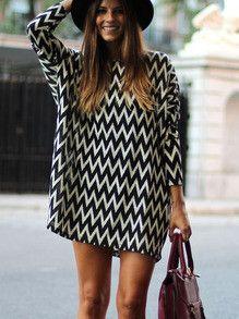 Trendy Geometric Print Dress Black and White Long Sleeve Dress. Top 10 dresses of the season! Fabric :Fabric has some stretch Season :Fall Type :tunic Pattern T