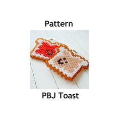 Peanut Butter and Jelly Toast Pattern, PBJ Peyote Stitch Bead Weaving