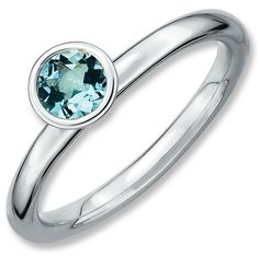 Sterling Silver Stackable Expressions High 5mm Round Aquamarine Ring